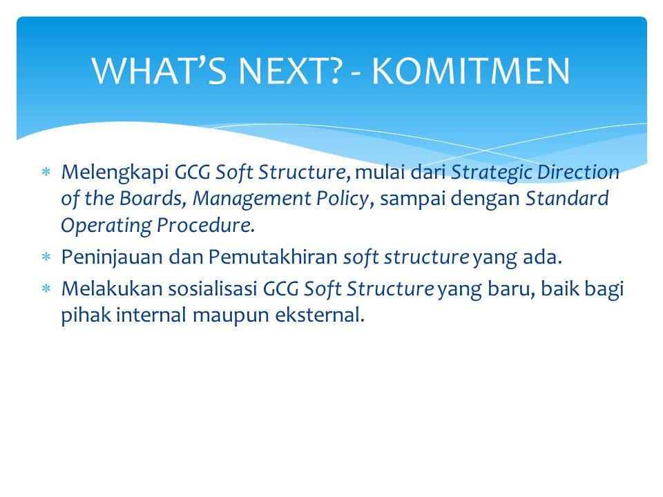  Melengkapi GCG Soft Structure, mulai dari Strategic Direction of the Boards, Management Policy, sampai dengan Standard Operating Procedure.  Peninj