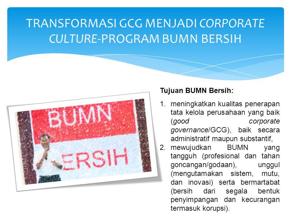 TRANSFORMASI GCG MENJADI CORPORATE CULTURE-PROGRAM BUMN BERSIH Tujuan BUMN Bersih: 1.meningkatkan kualitas penerapan tata kelola perusahaan yang baik