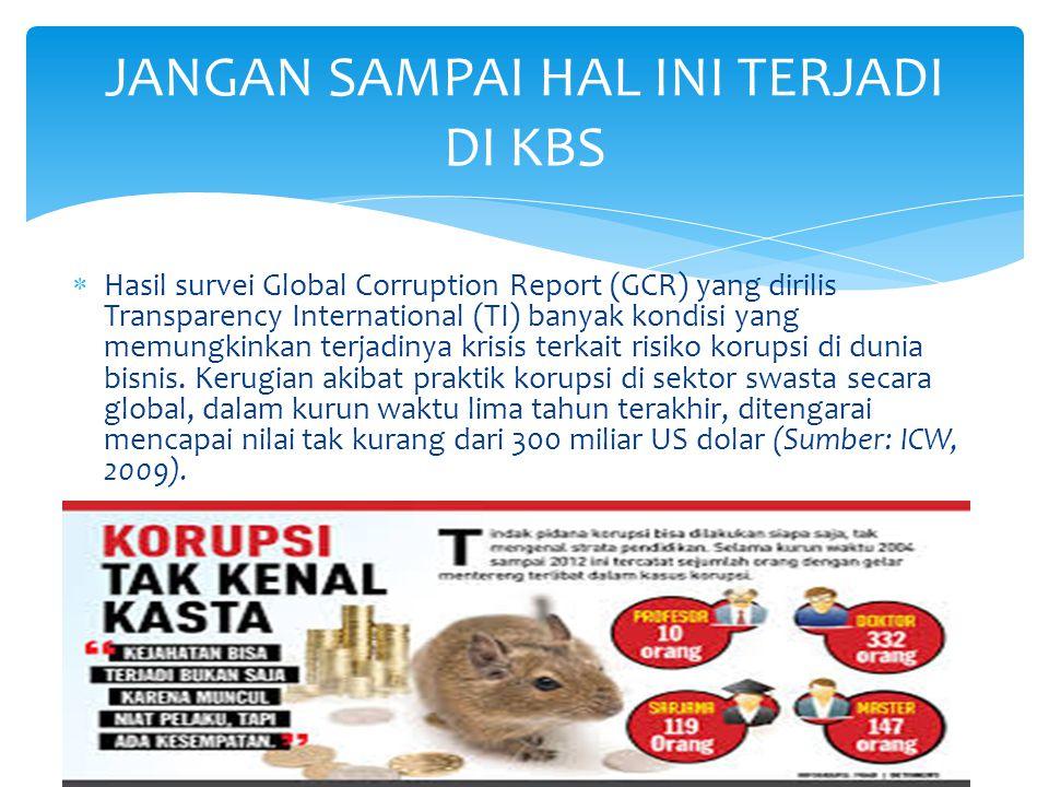  Hasil survei Global Corruption Report (GCR) yang dirilis Transparency International (TI) banyak kondisi yang memungkinkan terjadinya krisis terkait