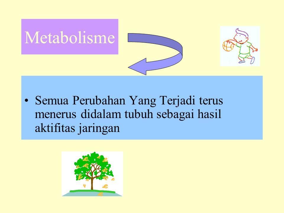 Metabolisme •Semua Perubahan Yang Terjadi terus menerus didalam tubuh sebagai hasil aktifitas jaringan