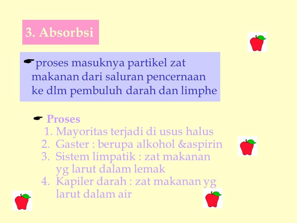  proses masuknya partikel zat makanan dari saluran pencernaan ke dlm pembuluh darah dan limphe 3.