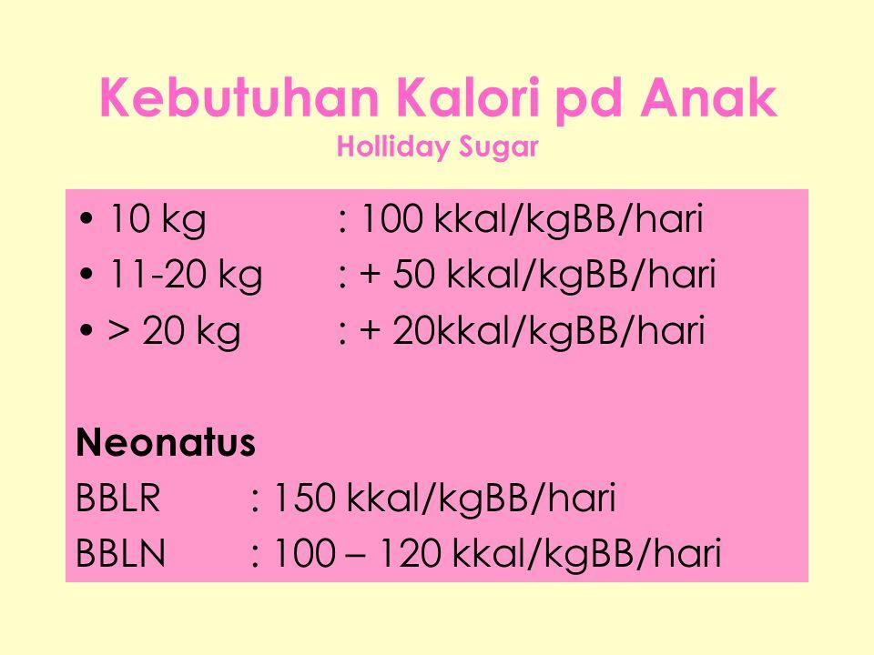 Kebutuhan Kalori pd Anak Holliday Sugar •10 kg: 100 kkal/kgBB/hari •11-20 kg: + 50 kkal/kgBB/hari •> 20 kg: + 20kkal/kgBB/hari Neonatus BBLR: 150 kkal/kgBB/hari BBLN: 100 – 120 kkal/kgBB/hari
