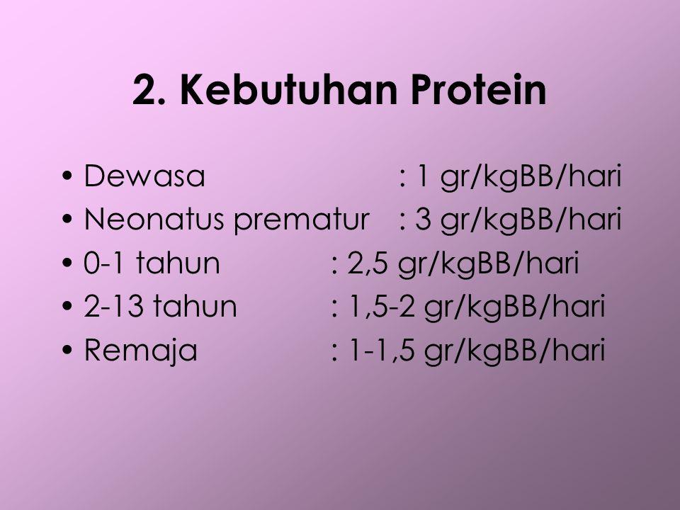 2. Kebutuhan Protein •Dewasa: 1 gr/kgBB/hari •Neonatus prematur: 3 gr/kgBB/hari •0-1 tahun: 2,5 gr/kgBB/hari •2-13 tahun: 1,5-2 gr/kgBB/hari •Remaja :