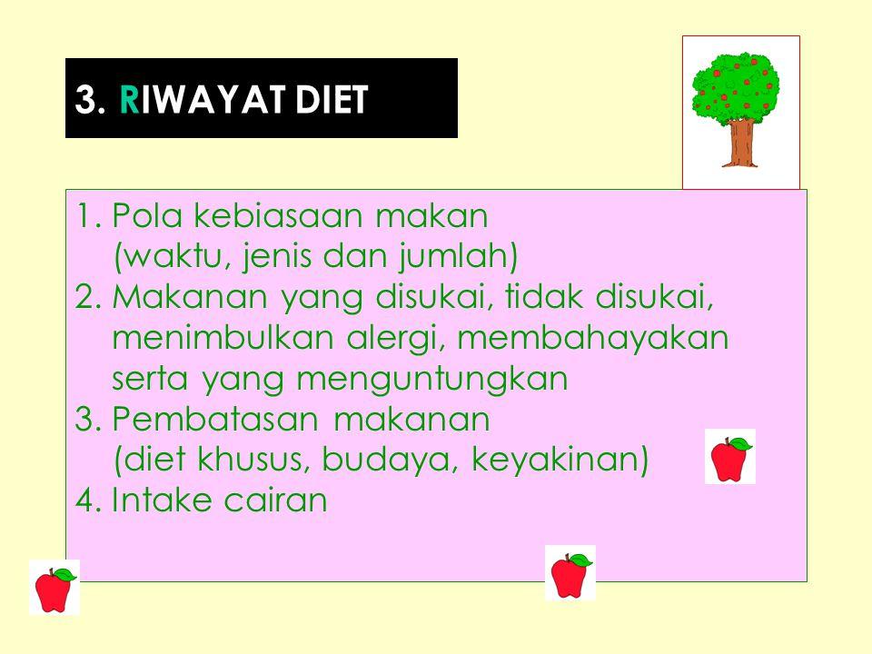 1. Pola kebiasaan makan (waktu, jenis dan jumlah) 2. Makanan yang disukai, tidak disukai, menimbulkan alergi, membahayakan serta yang menguntungkan 3.