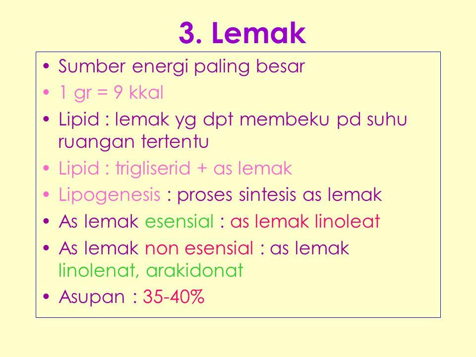 3. Lemak •Sumber energi paling besar •1 gr = 9 kkal •Lipid : lemak yg dpt membeku pd suhu ruangan tertentu •Lipid : trigliserid + as lemak •Lipogenesi