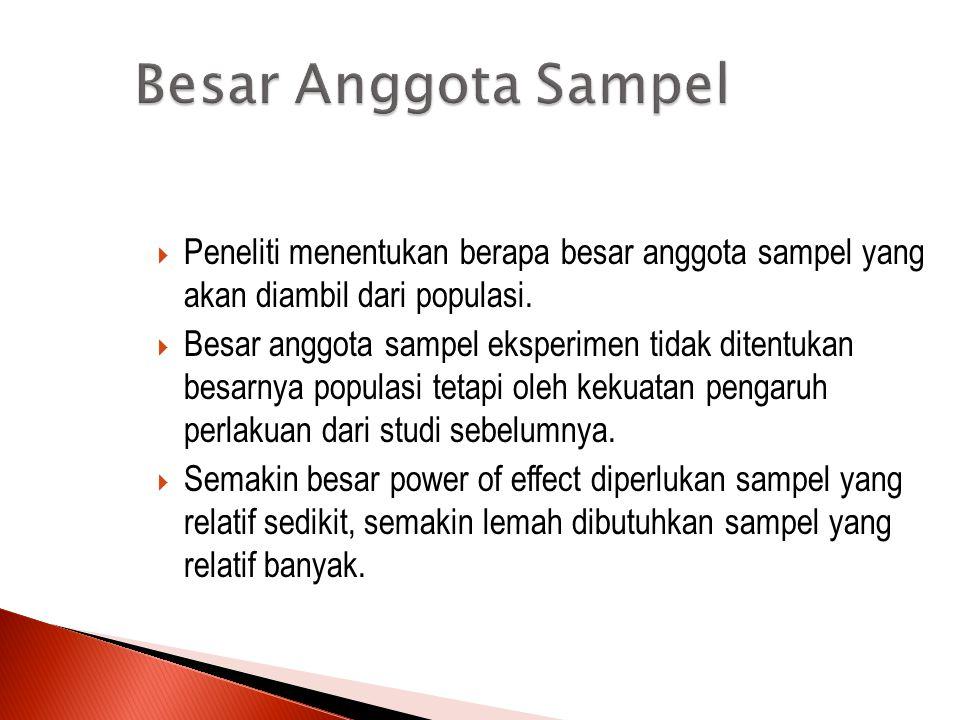 Jumlah Jumlah Sampel  Yaitu banyaknya kelompok sampel yang dibutuhkan dalam suatu eksperimen  Jumlah sampel ini ditentukan oleh desain eksperimennya  Melakukan komparasi antara kelompok eksperimen dan kontrol maka jumlah sampel yang dibutuhkan 2 atau Komparasi dua perlakuan pada satu sampel (Kelompok amatan ulang)