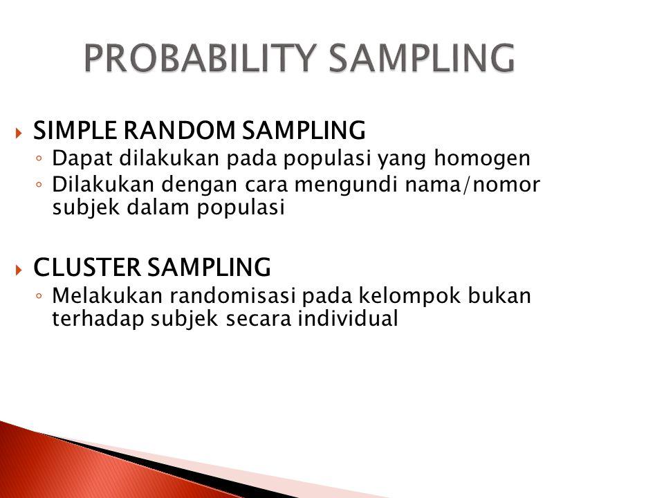 Teknik Random ◦ Yaitu teknik pengambilan sampel yang didasarkan atas probabilitas bahwa setiap unit sampling memiliki kesempatan yang sama untuk terpilih menjadi sampel.