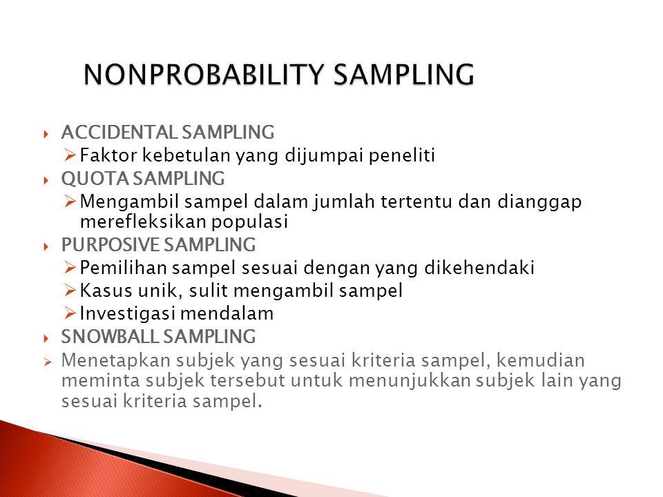 PROBABILITY SAMPLING  STRATIFIED SAMPLING Dilakukan pada populasi yang memiliki strata atau subkelompok dan dari masing-masing subkelompok diambil sampel terpisah.