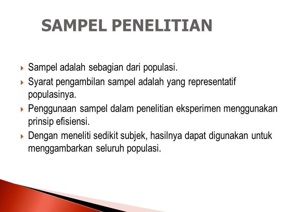 POPULASI DAN SAMPEL  Populasi yaitu keseluruhan individu atau objek yang diteliti dan memiliki beberapa karakteristik yang sama.