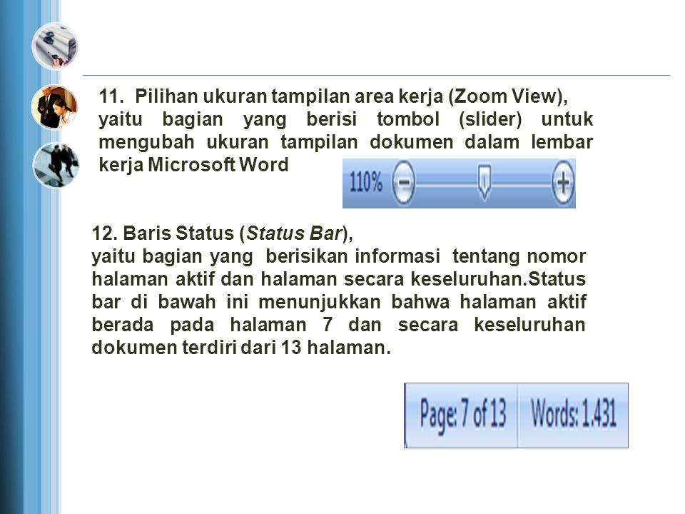 10.Pilihan Tampilan layar, Normal View, menampilkan lembar kerja dalam bentuk normal, dan masing-masing halaman dipisahkan oleh garis putus-putus sebagai batas antar halaman.