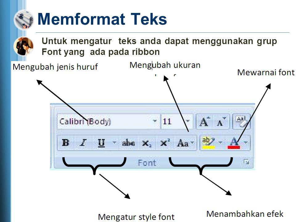 Mengcopy Teks Langkah meng-copy teks : 1. Block teks yang akan anda copy 2.Click icon copy pada ribbon 3.Click icon paste pada ribbon Selain cara copy