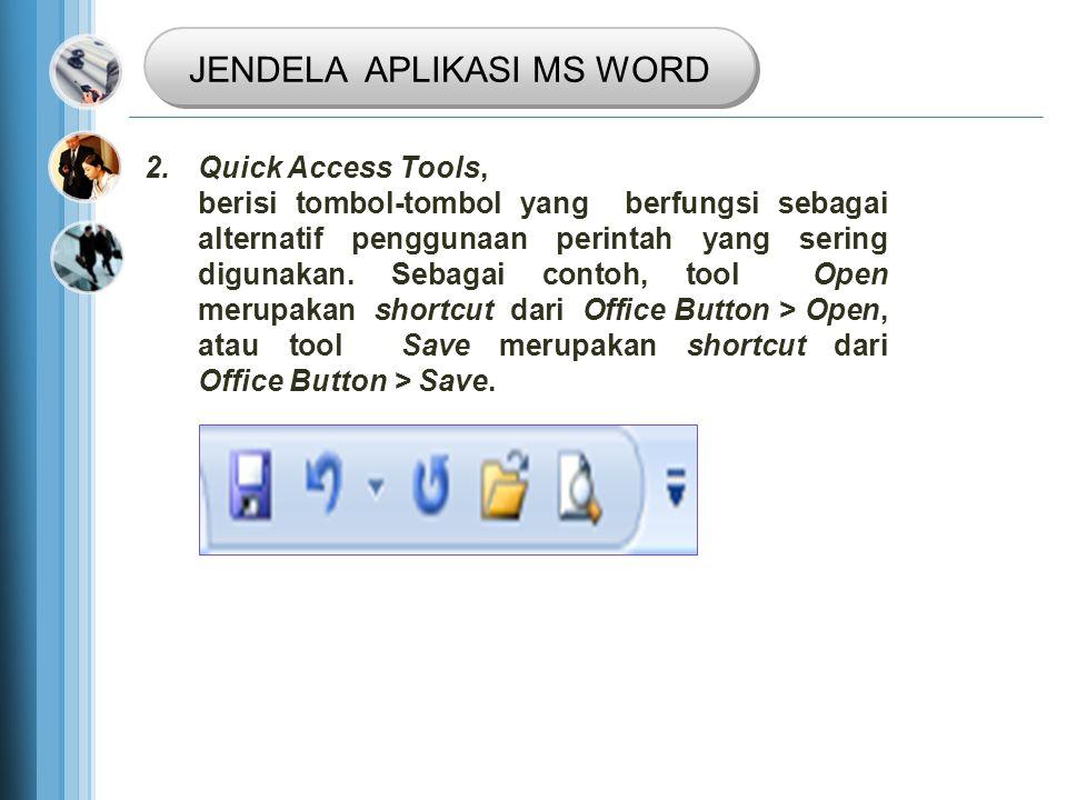 2.Quick Access Tools, berisi tombol-tombol yang berfungsi sebagai alternatif penggunaan perintah yang sering digunakan.