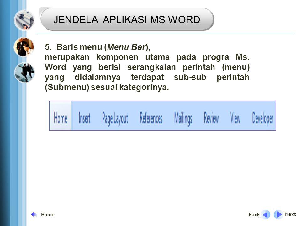 TRANSISI Next Back Home 5.Baris menu (Menu Bar), merupakan komponen utama pada progra Ms.