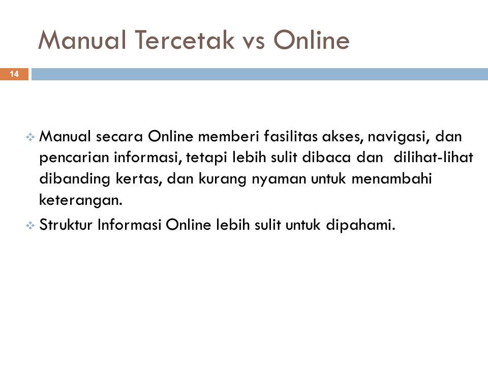 Manual Tercetak vs Online 14  Manual secara Online memberi fasilitas akses, navigasi, dan pencarian informasi, tetapi lebih sulit dibaca dan dilihat-