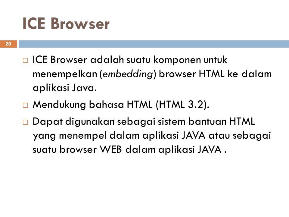 ICE Browser 20  ICE Browser adalah suatu komponen untuk menempelkan (embedding) browser HTML ke dalam aplikasi Java.  Mendukung bahasa HTML (HTML 3.
