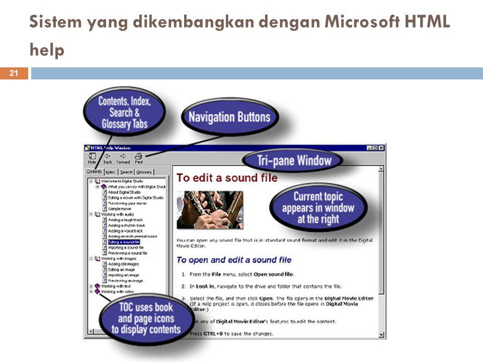 Sistem yang dikembangkan dengan Microsoft HTML help 21
