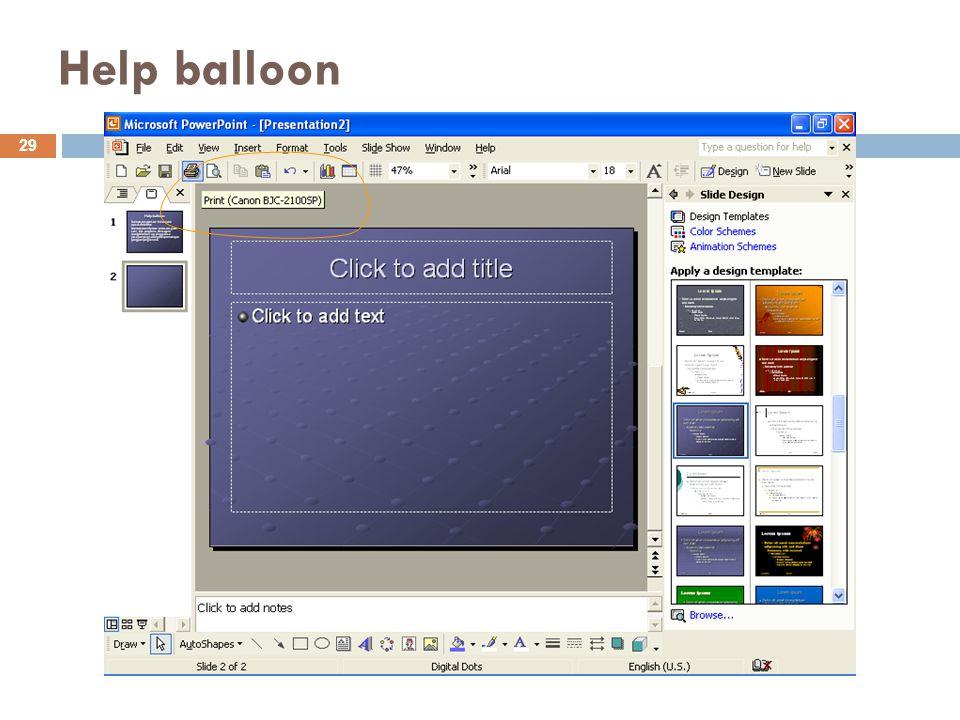 Help balloon 29