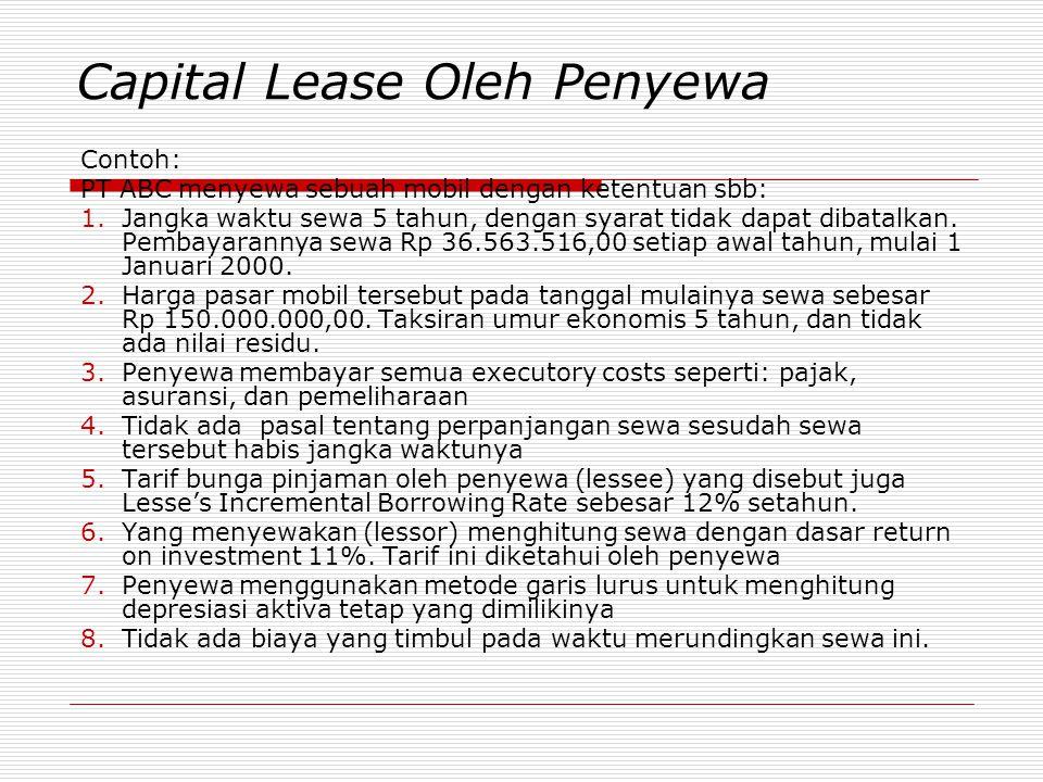 Capital Lease Oleh Penyewa Contoh: PT ABC menyewa sebuah mobil dengan ketentuan sbb: 1.Jangka waktu sewa 5 tahun, dengan syarat tidak dapat dibatalkan
