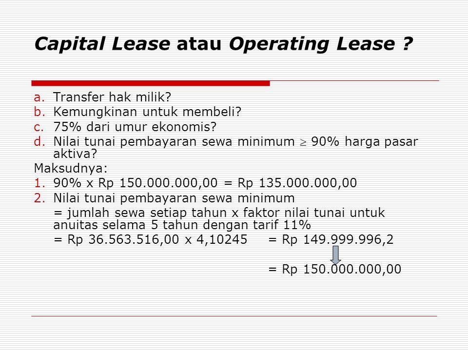 Capital Lease atau Operating Lease ? a.Transfer hak milik? b.Kemungkinan untuk membeli? c.75% dari umur ekonomis? d.Nilai tunai pembayaran sewa minimu