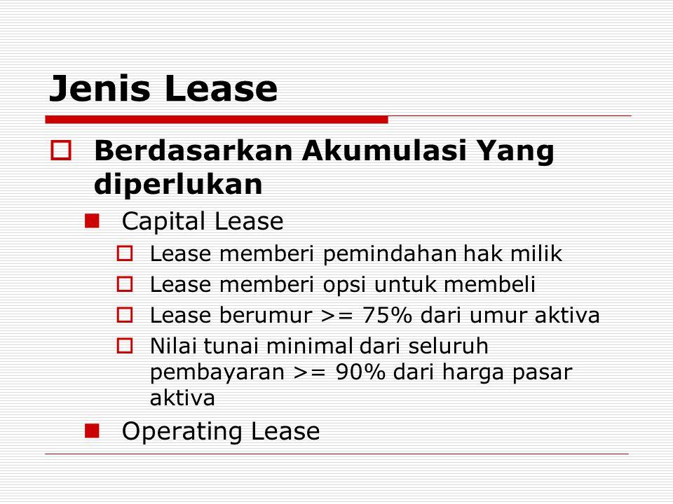 Jenis Lease  Berdasarkan Akumulasi Yang diperlukan  Capital Lease  Lease memberi pemindahan hak milik  Lease memberi opsi untuk membeli  Lease be