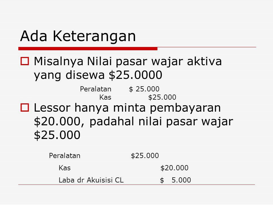 Ada Keterangan  Misalnya Nilai pasar wajar aktiva yang disewa $25.0000  Lessor hanya minta pembayaran $20.000, padahal nilai pasar wajar $25.000 Per