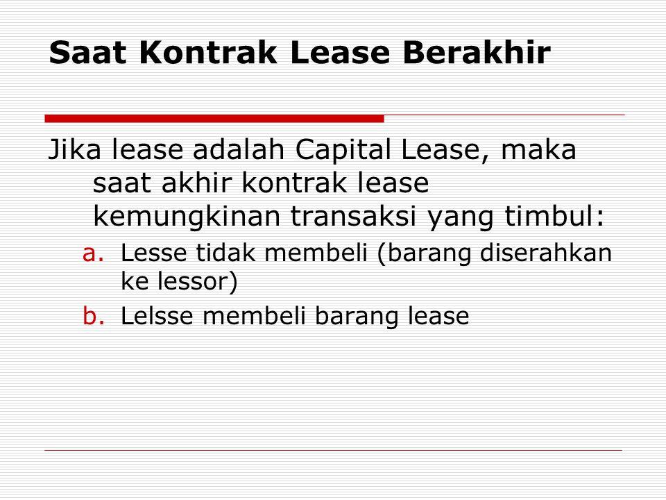 Saat Kontrak Lease Berakhir Jika lease adalah Capital Lease, maka saat akhir kontrak lease kemungkinan transaksi yang timbul: a.Lesse tidak membeli (b