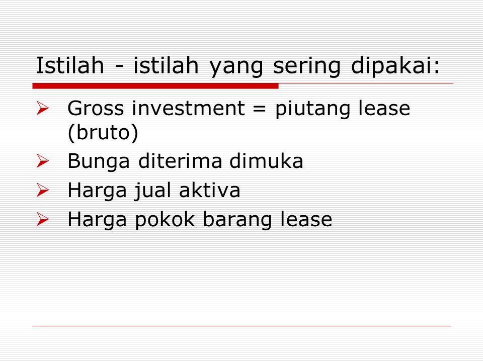 Istilah - istilah yang sering dipakai:  Gross investment = piutang lease (bruto)  Bunga diterima dimuka  Harga jual aktiva  Harga pokok barang lea