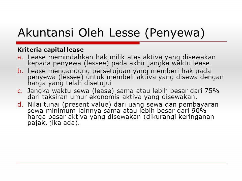 Akuntansi Oleh Lesse (Penyewa) Kriteria capital lease a.Lease memindahkan hak milik atas aktiva yang disewakan kepada penyewa (lessee) pada akhir jang