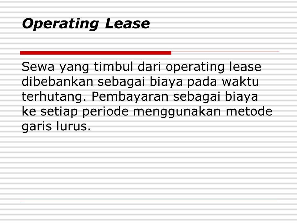 Operating Lease Sewa yang timbul dari operating lease dibebankan sebagai biaya pada waktu terhutang. Pembayaran sebagai biaya ke setiap periode menggu