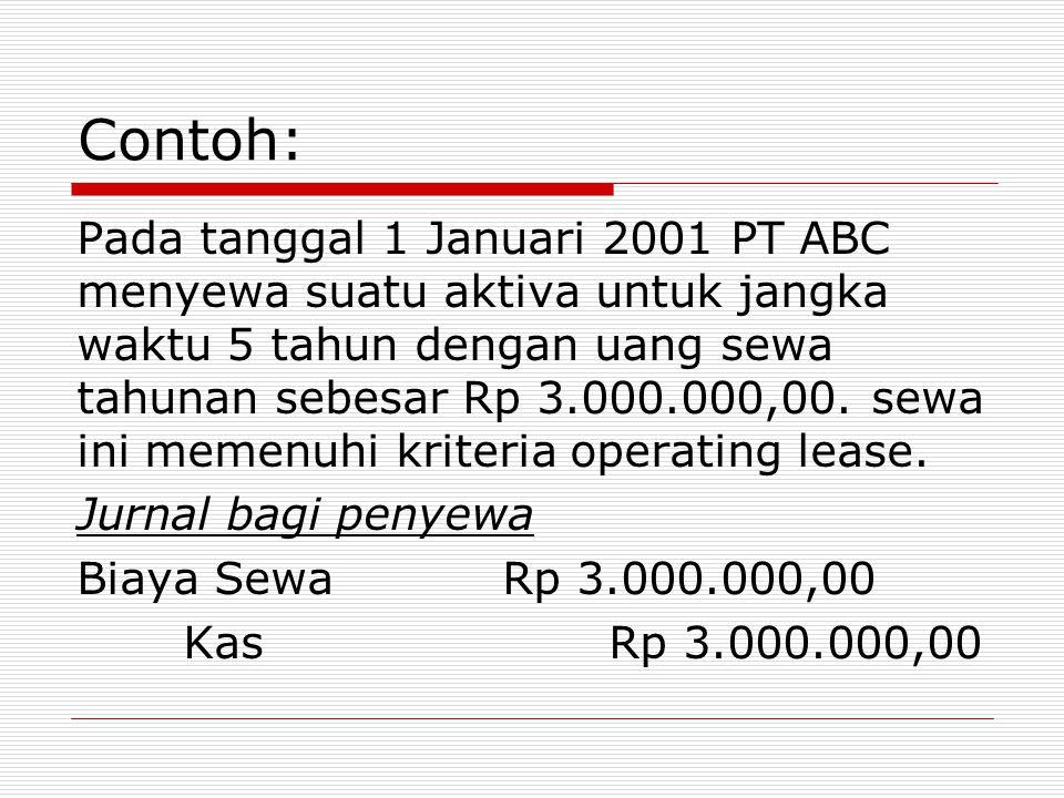 Contoh: Pada tanggal 1 Januari 2001 PT ABC menyewa suatu aktiva untuk jangka waktu 5 tahun dengan uang sewa tahunan sebesar Rp 3.000.000,00. sewa ini