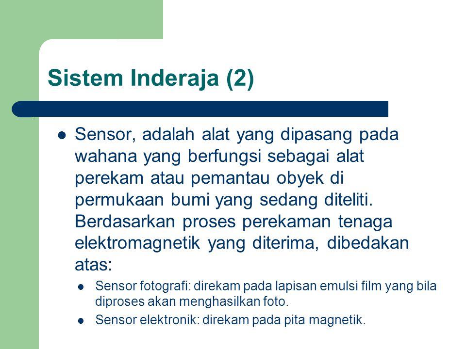 Sistem Inderaja (2)  Sensor, adalah alat yang dipasang pada wahana yang berfungsi sebagai alat perekam atau pemantau obyek di permukaan bumi yang sedang diteliti.