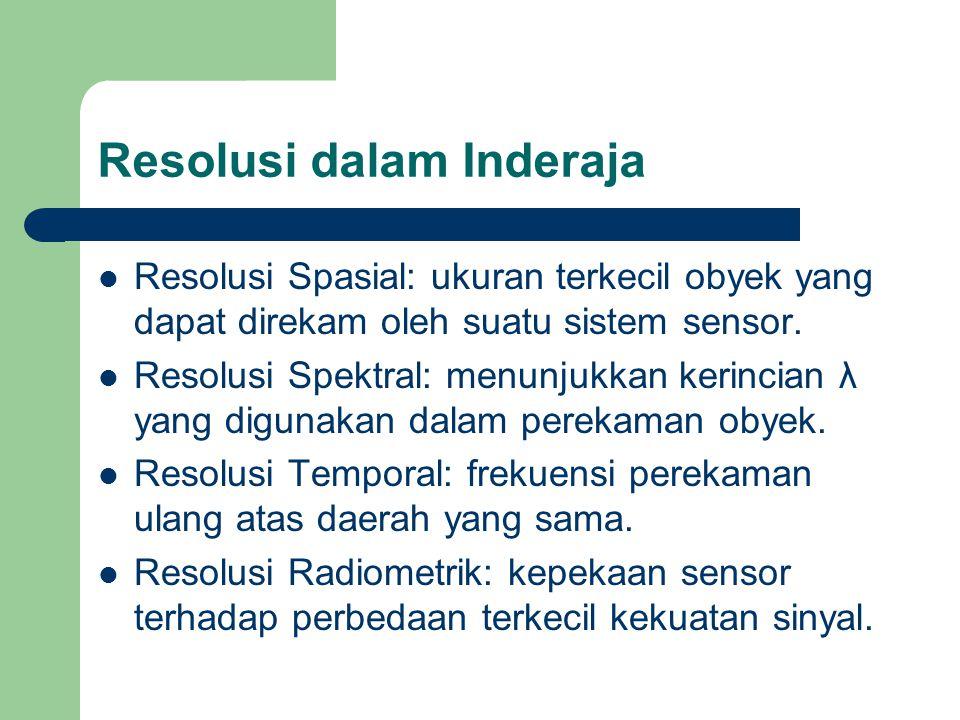 Resolusi dalam Inderaja  Resolusi Spasial: ukuran terkecil obyek yang dapat direkam oleh suatu sistem sensor.