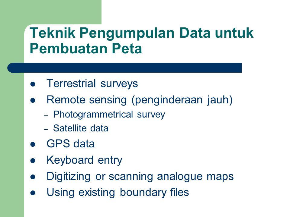 Teknik Pengumpulan Data untuk Pembuatan Peta  Terrestrial surveys  Remote sensing (penginderaan jauh) – Photogrammetrical survey – Satellite data  GPS data  Keyboard entry  Digitizing or scanning analogue maps  Using existing boundary files
