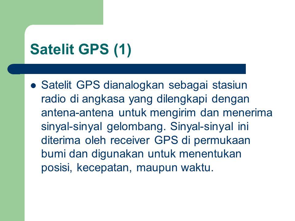 Satelit GPS (1)  Satelit GPS dianalogkan sebagai stasiun radio di angkasa yang dilengkapi dengan antena-antena untuk mengirim dan menerima sinyal-sinyal gelombang.