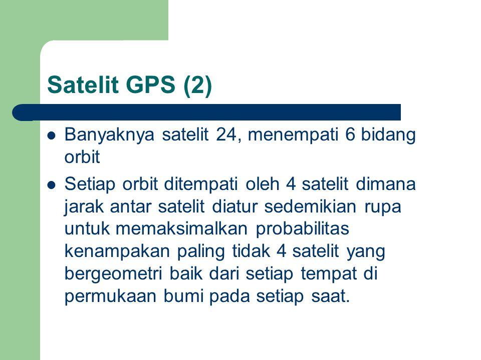 Satelit GPS (2)  Banyaknya satelit 24, menempati 6 bidang orbit  Setiap orbit ditempati oleh 4 satelit dimana jarak antar satelit diatur sedemikian rupa untuk memaksimalkan probabilitas kenampakan paling tidak 4 satelit yang bergeometri baik dari setiap tempat di permukaan bumi pada setiap saat.