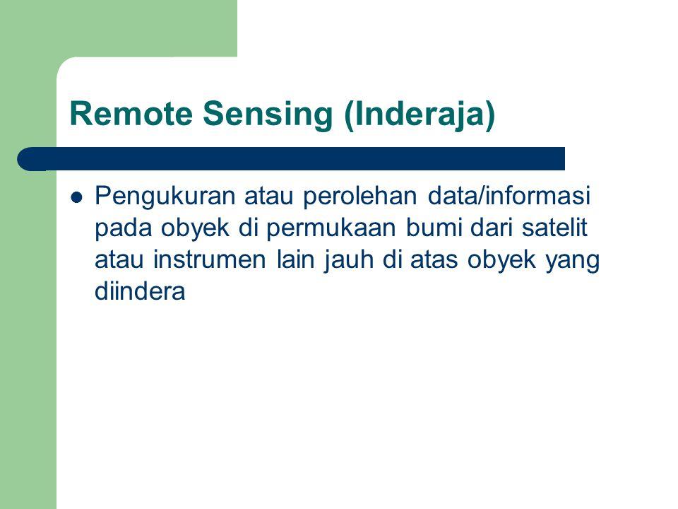 Remote Sensing (Inderaja)  Pengukuran atau perolehan data/informasi pada obyek di permukaan bumi dari satelit atau instrumen lain jauh di atas obyek yang diindera