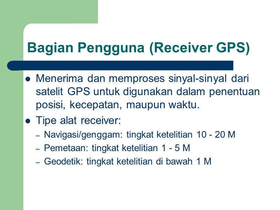 Bagian Pengguna (Receiver GPS)  Menerima dan memproses sinyal-sinyal dari satelit GPS untuk digunakan dalam penentuan posisi, kecepatan, maupun waktu.