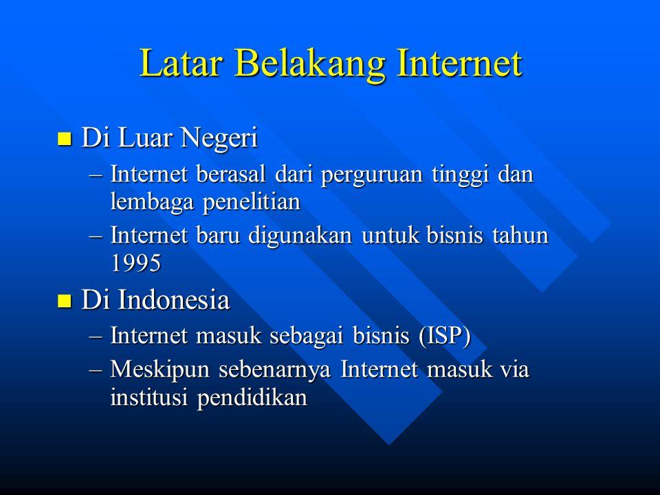 Latar Belakang Internet  Di Luar Negeri –Internet berasal dari perguruan tinggi dan lembaga penelitian –Internet baru digunakan untuk bisnis tahun 19