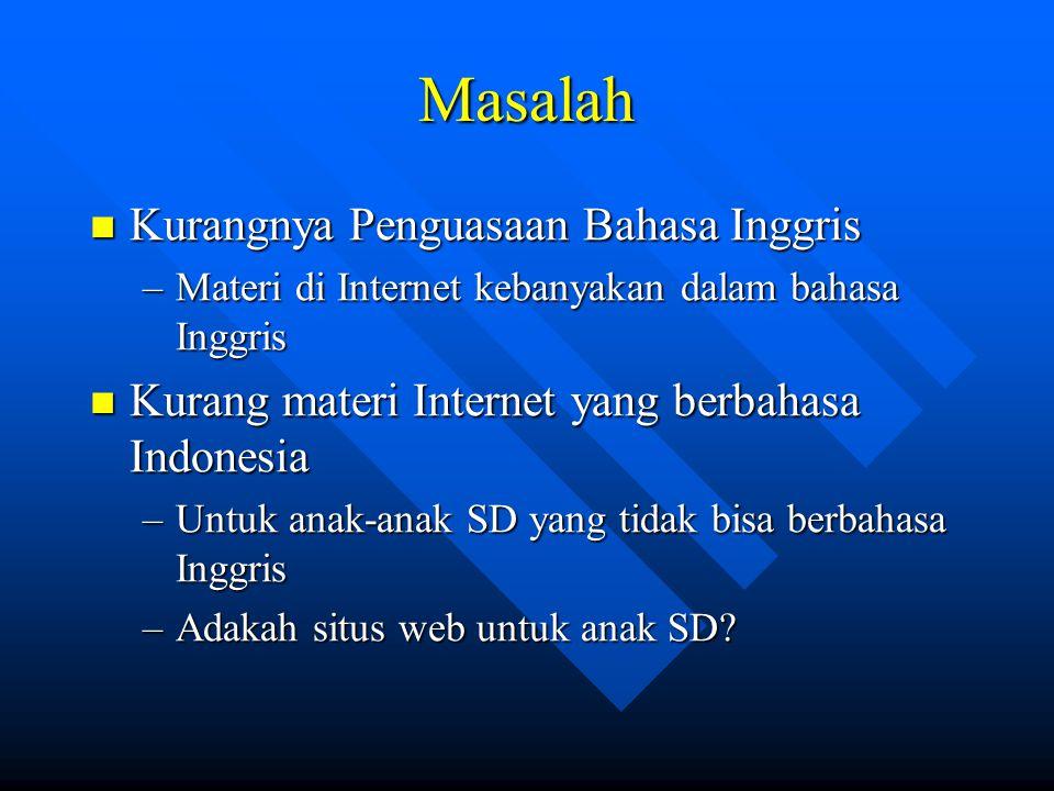 Masalah  Kurangnya Penguasaan Bahasa Inggris –Materi di Internet kebanyakan dalam bahasa Inggris  Kurang materi Internet yang berbahasa Indonesia –U