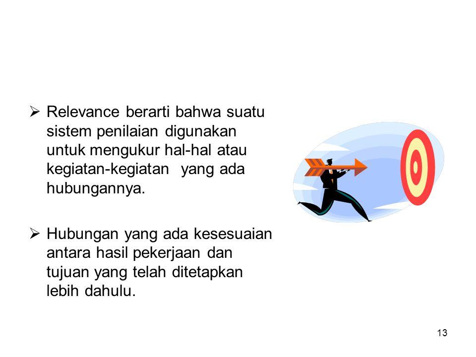 13  Relevance berarti bahwa suatu sistem penilaian digunakan untuk mengukur hal-hal atau kegiatan-kegiatan yang ada hubungannya.  Hubungan yang ada