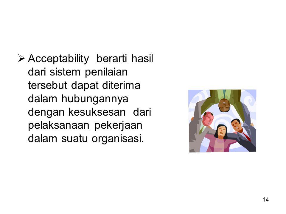 14  Acceptability berarti hasil dari sistem penilaian tersebut dapat diterima dalam hubungannya dengan kesuksesan dari pelaksanaan pekerjaan dalam su