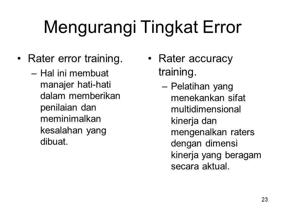 23 Mengurangi Tingkat Error •Rater error training. –Hal ini membuat manajer hati-hati dalam memberikan penilaian dan meminimalkan kesalahan yang dibua