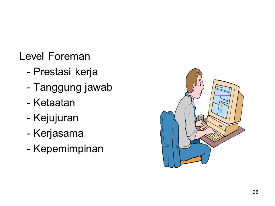 28 Level Foreman - Prestasi kerja - Tanggung jawab - Ketaatan - Kejujuran - Kerjasama - Kepemimpinan