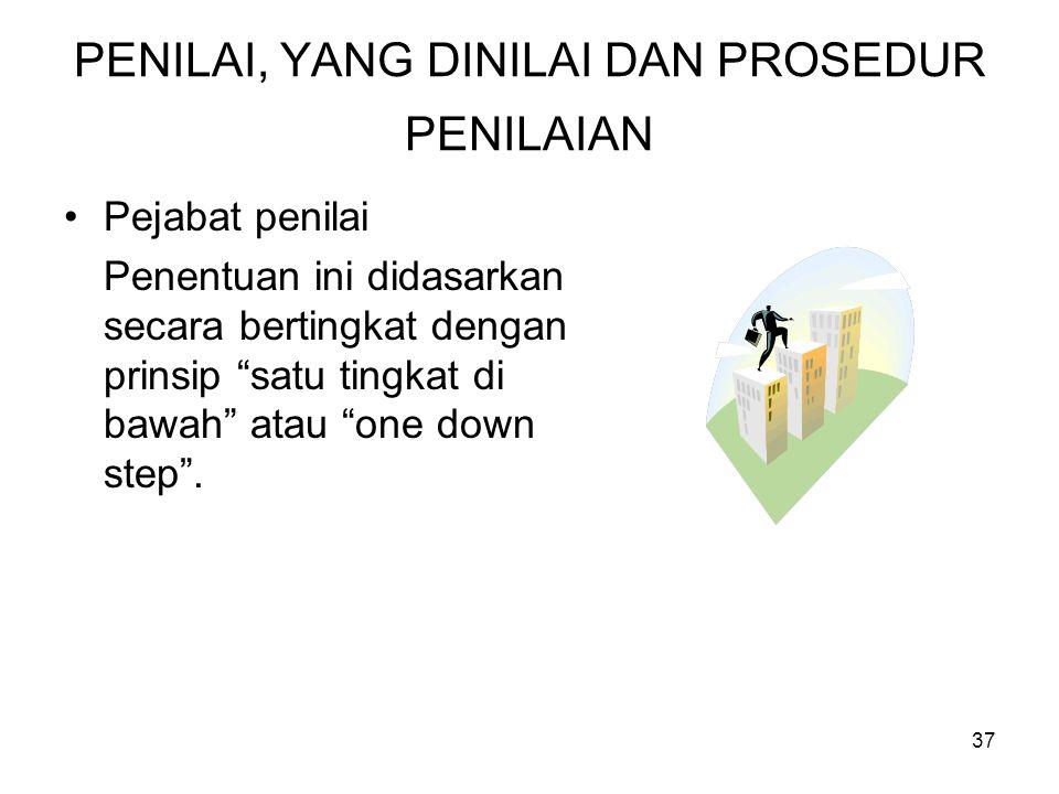 "37 PENILAI, YANG DINILAI DAN PROSEDUR PENILAIAN •Pejabat penilai Penentuan ini didasarkan secara bertingkat dengan prinsip ""satu tingkat di bawah"" ata"