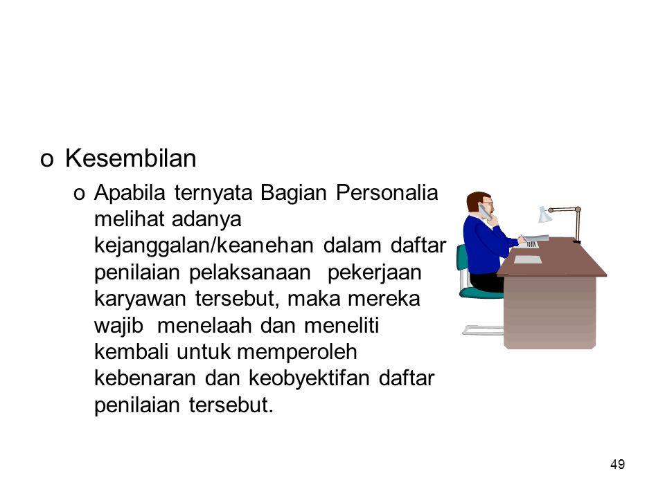 49 oKesembilan oApabila ternyata Bagian Personalia melihat adanya kejanggalan/keanehan dalam daftar penilaian pelaksanaan pekerjaan karyawan tersebut,
