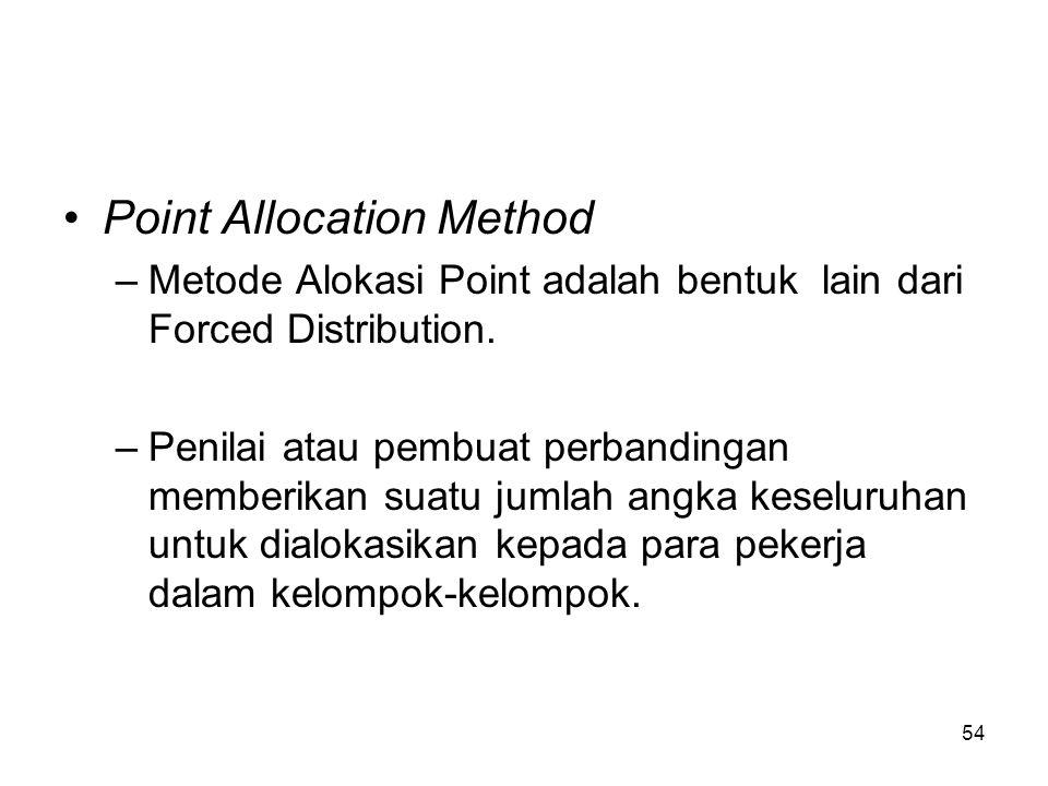 54 •Point Allocation Method –Metode Alokasi Point adalah bentuk lain dari Forced Distribution. –Penilai atau pembuat perbandingan memberikan suatu jum