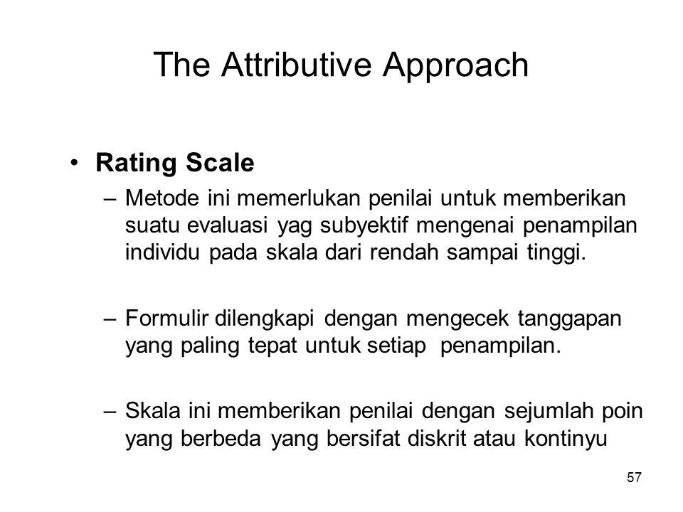 57 The Attributive Approach •Rating Scale –Metode ini memerlukan penilai untuk memberikan suatu evaluasi yag subyektif mengenai penampilan individu pa