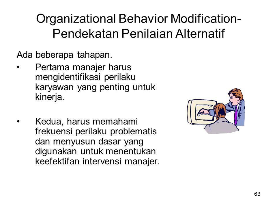 63 Organizational Behavior Modification- Pendekatan Penilaian Alternatif Ada beberapa tahapan. •Pertama manajer harus mengidentifikasi perilaku karyaw