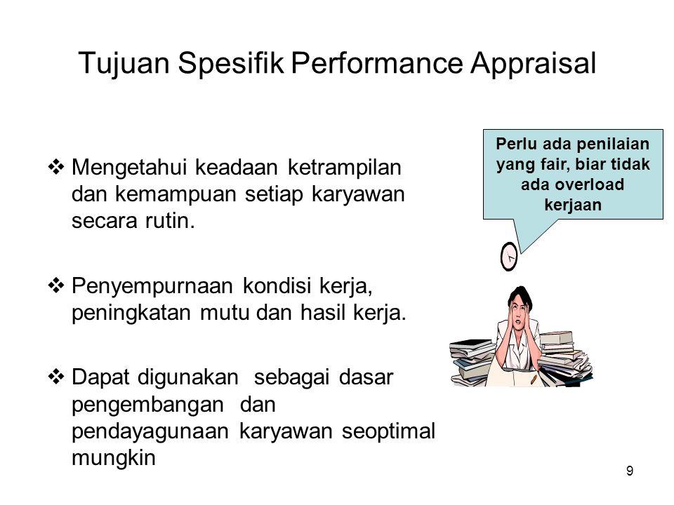 9 Tujuan Spesifik Performance Appraisal  Mengetahui keadaan ketrampilan dan kemampuan setiap karyawan secara rutin.  Penyempurnaan kondisi kerja, pe