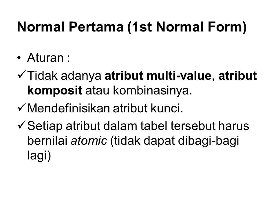 Normal Pertama (1st Normal Form) •Aturan :  Tidak adanya atribut multi-value, atribut komposit atau kombinasinya.  Mendefinisikan atribut kunci.  S